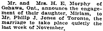 Toronto Globe, November 5, 1919, page 10, column 2.