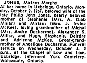 Toronto Globe and Mail, October 6, 1967, page 41, column 6.