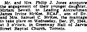 Toronto Globe and Mail, December 20, 1944, page 8, column 3.