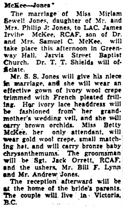 Toronto Globe and Mail, December 27, 1944, page 11, column 1.