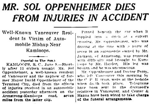 Vancouver Sun, June 10, 1913, page 1, columns 6-7.