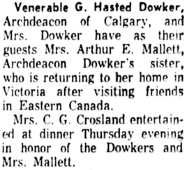 Calgary Herald, May 19, 1961, page 32, column 8.