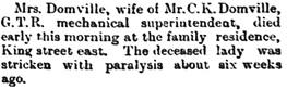 Toronto Globe, January 13, 1892, page 3, column 4.