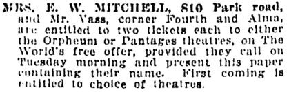 "Vancouver Daily World, August 12, 1912, page 19, column 1. [""E."" W. Mitchell might be a mis-hearing of ""V."" W. Mitchell.]"
