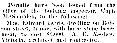 Vancouver Daily World, July 10, 1901, page 8, column 4 [selected portions].