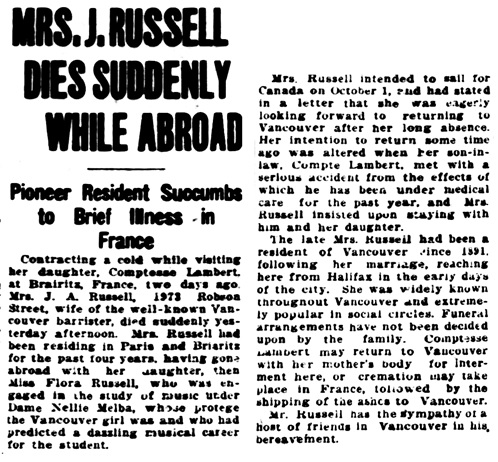 Vancouver Sun, September 16, 1925, page 3, column 4.