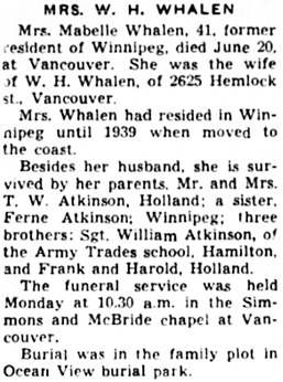 The Winnipeg Tribune, June 26, 1941, page 15, column 4.