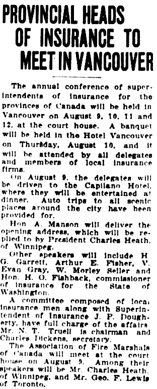 Vancouver Daily World, July 29, 1922, page 17, column 3.
