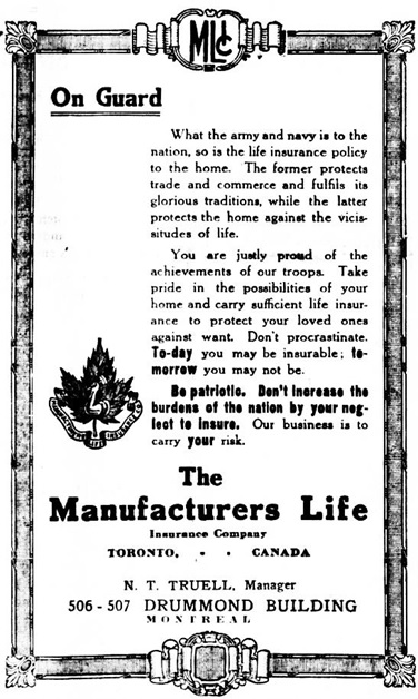 Manufacturers Life Insurance Company, advertisement, The Gazette (Montreal, Canada), 10 Jun 1916, page 4, columns 4-5.