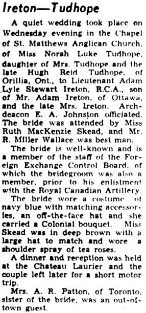 The Ottawa Journal, September 12, 1941, page 15, column 5.