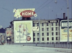 North End, Main Approach, Granville Bridge, July 15 1954;[detail]; https://www.flickr.com/photos/vancouverbyte/13578712505/. (This building later became known for the orca mural on its south side. The building was demolished in 2015.)