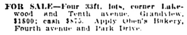 Vancouver Daily World, October 1, 1909, page 30, column 1.