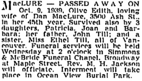 Vancouver Sun, October 10, 1939, page 13, column 2; https://news.google.com/newspapers?id=azJlAAAAIBAJ&sjid=NYkNAAAAIBAJ&pg=6490%2C1158947 [link leads to column 3; death notice is in column 2].