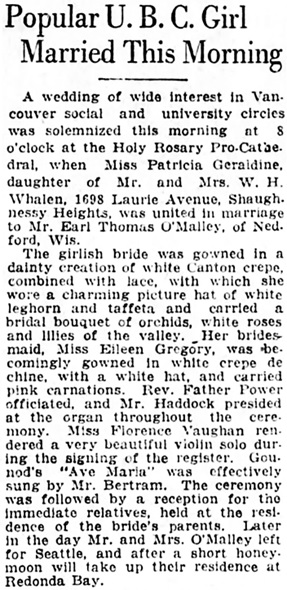 Vancouver Daily World, June 29, 1922, page 7, column 3.