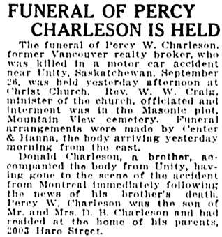 Vancouver Sun, October 4, 1922, page 5, column 3.