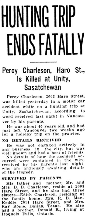 Vancouver Sun, September 27, 1922, page 3, column 5.