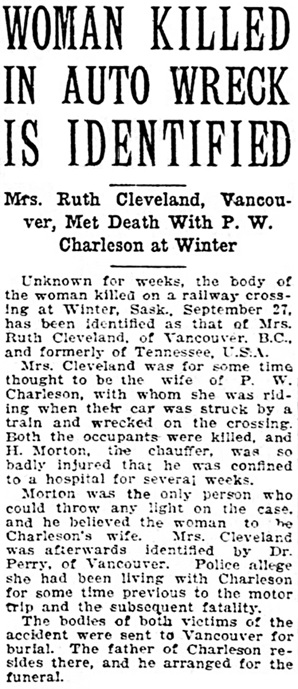 The Leader-Post (Regina, Saskatchewan), October 23, 1922, page 1, column 5.