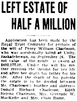 Vancouver Daily World, November 22, 1922, page 2, column 6.
