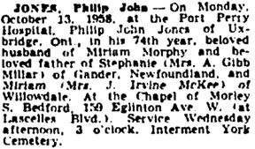 Toronto Globe and Mail, October 15, 1958, page 30, column 5.