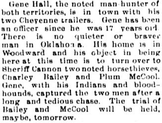 The Guthrie Daily Leader (Guthrie, Oklahoma), November 13, 1897, page 2, column 2.