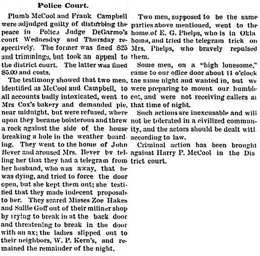 Coldwater Enterprise (Coldwater, Kansas), 27 Feb 1892, page 2, column 3.