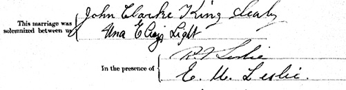 """British Columbia Marriage Registrations, 1859-1932; 1937-1938,"" database with images, FamilySearch (https://familysearch.org/ark:/61903/1:1:JDZV-2C1 : 11 March 2018), John Clarke King Sealy and Una Eliza Light, 29 Nov 1913; citing Vancouver, British Columbia, Canada, British Columbia Archives film number B11377, Vital Statistics Agency, Victoria; FHL microfilm 1,983,705. [extract from marriage certificate]."