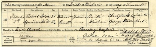 Ancestry.com. Somerset, England, Marriage Registers, Bonds and Allegations, 1754-1914 [database on-line]. Provo, UT, USA: Ancestry.com Operations, Inc., 2016. Somerset Heritage Service; Taunton, Somerset, England; Somerset Parish Records, 1538-1914; Reference Number: D\P\winsh/2/1/7. Name: Richard Hobson; Gender: Male; Age: 31; Birth Year: abt 1833; Marriage or Bann Date: 8 Sep 1864; Marriage Place: Winsham, Somerset, England; Father: Christopher Hobson; Spouse: Agnes Susan Ware.