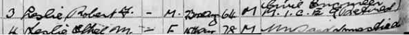 Ancestry.com. 1939 England and Wales Register [database on-line]. Lehi, UT, USA: Ancestry.com Operations, Inc., 2018. The National Archives; Kew, London, England; 1939 Register; Reference: RG 101/2505D. Name: Robert F Leslie; Gender: Male; Marital Status: Married; Birth Date: 23 Aug 1864; Residence Year: 1939; Address: Rustlings Oak Bank Close; Residence Place: Cuckfield, Sussex, England; Occupation: Civil Engineer M I C E (Retired); Schedule Number: 96; Sub Schedule Number: 3; Enumeration District: EJDJ; Registration district: 76-2; Inferred Spouse: Ethel M Leslie.