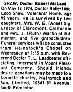 Edmonton Journal, May 21, 1974, page 28, column 8.
