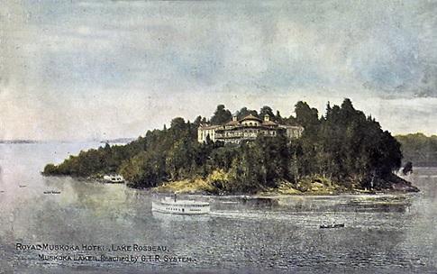 Royal Muskoka Hotel, Lake Rosseau, Muskoka Lakes. Reached by G.T.R. System; about 1910; Toronto Public Library; https://www.torontopubliclibrary.ca/detail.jsp?Entt=RDMDC-PCR-1528&R=DC-PCR-1528&searchPageType=vrl.