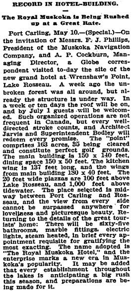 Toronto Globe, May 11, 1901, page 17, column 3.
