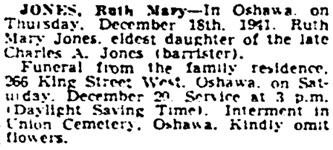 Toronto Globe and Mail, December 19, 1941, page 22, column 2.