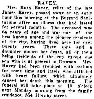Vancouver Daily World, August 22, 1908, page 5, column 4.
