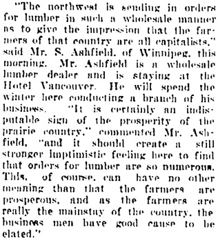 Vancouver Daily World, February 5, 1909, page 5, column 4.