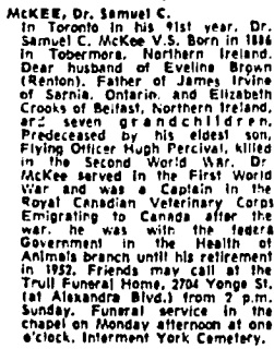 Toronto Globe and Mail, August 6, 1977, page 47, column 8.