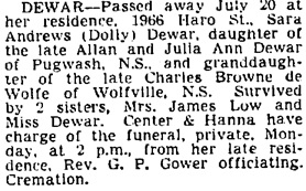 Vancouver Sun, July 21, 1945, page 17, column 3.