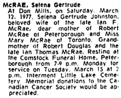 Toronto Globe and Mail, March 14, 1977, page 33, column 4.