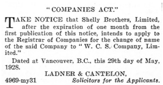 British Columbia Gazette, June 7, 1928, page 2218; https://archive.org/stream/governmentgazett68nogove_k8i1#page/2218/mode/1up.