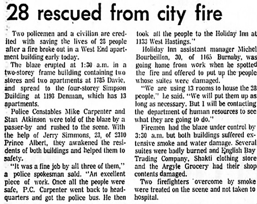 The Vancouver Sun, August 16, 1975, page 10, columns 1-2 (middle).