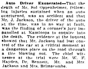 Vancouver Daily World, June 12, 1913, page 20, column 1.