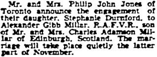 Toronto Globe and Mail, November 15, 1941, page 12, column 1.