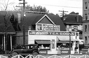 The Avenue Tea Rooms, about 1932 [sic]; detail from Sylvia Court - English Bay; Vancouver City Archives; CVA 99-2632; https://searcharchives.vancouver.ca/sylvia-court-english-bay.