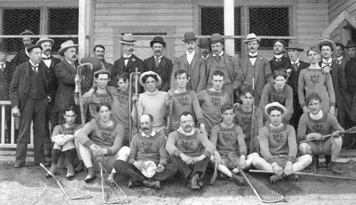 The Senior Vancouver Lacrosse Club in front of the dressing quarters at Brockton Point, 1899; Vancouver City Archives, Item: Sp P4.1; https://searcharchives.vancouver.ca/senior-vancouver-lacrosse-club-in-front-of-dressing-quarters-at-brockton-point.