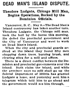 Chicago Tribune, May 9, 1899, page 1, column 6.