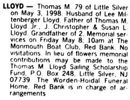 Asbury Park Press (Asbury Park, New Jersey), May 6, 1998, page 6, column 2.