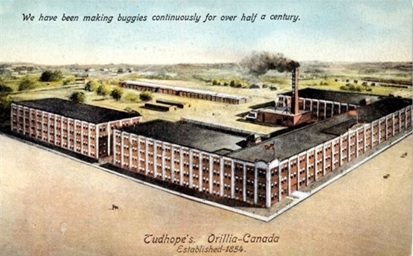 Tudhope Carriage Plant, after 1909; http://orilliaheritage.com/postcard-memories/item/5-the-tudhope-carriage-plant.