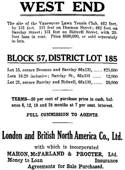 Vancouver Sun, December 28, 1912, page 12, columns 6-7.