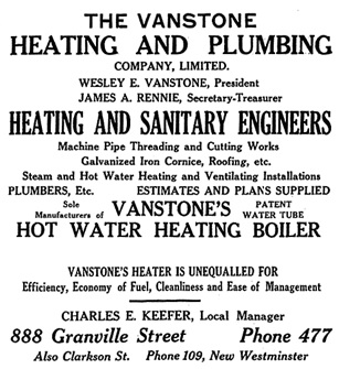 Henderson's City of Vancouver and North Vancouver Directory, 1909, page 173 (selected portions).