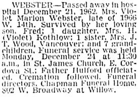 Vancouver Sun, December 24, 1962, page 26, column 6.