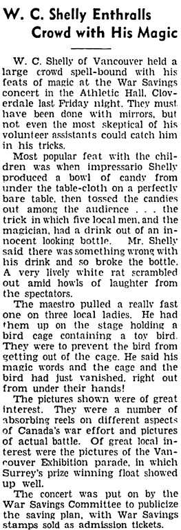 Surrey Leader (Surrey, British Columbia), November 26, 1941, page 1, column 2.
